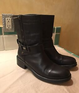 Aquatalia Womens Black Leather Ankle Boots Sz 10