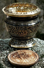 Brass Carved Incense Censer-Charcoa-Resin 4 Inches Tall & Coaster NEW