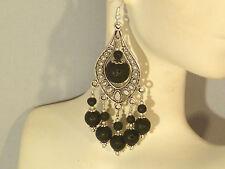 Gemstone Earrings - Black Lava Rock & 925 Sterling Silver - long chandeliers