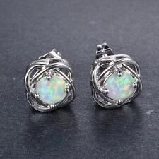 Sweet Four Claw White Fire Opal Stud Earrings Women's White Gold Filled Jewelry