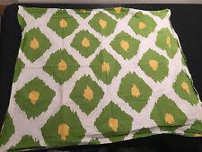 Pottery Barn Orgainic Ikat standard pillow sham white green yellow cotton