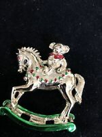 Vintage Rare Gerrys Rocking Horse  Brooch Gold Tone Red & green Enamel Christmas