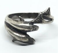 Vintage Sterling Silver Ring 925 Size 5.5 Dolphin Animal Fish