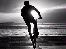 SPORT PHOTOGRAPH BMX MOUNTAIN BIKE JUMP SUNSET BICYCLE POSTER PRINT LV11185