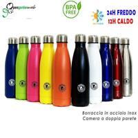 2x Borraccia Termica In Acciaio Inox 500 ml Bottiglia d'Acqua Thermos Fit Shaker