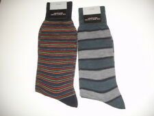 BLOOMINGDALES 2 Pair MENS  STRIPED SOCKS  TEAL NAVY NWT ITALY