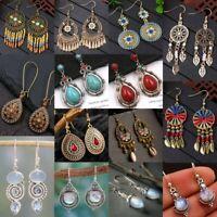 Retro Women Boho Turquoise Beaded Tassel Dangle Hook Earrings Bohemian Jewelry