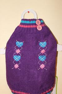 Fashion Pet Coed Heart Sweater Purple  Small new