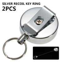 2pcs Retractable Metal Key Chain Recoil Keyring Key Chain Card Badge Holder
