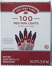 HOLIDAY TIME CHRISTMAS INCANDESCENT MINI-LIGHTS 100CT RED W / WHITE WIRE (CHR19)