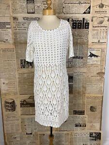BNWT Authentic Ralph Lauren Crochet Dress White. Summer. Wedding. UK14.