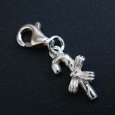 Sterling Silver Bracelet Charms-Silver Candy Cane Charm with Bow- Add on Charm