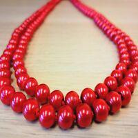 Damen Glasperlenkette Perlen Kette 150 cm Halskette Schmuck Collier NEU Rot 7 mm