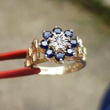 stunning 9ct gold diamond and sapphire ring size M