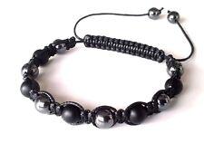 Mens shamballa beaded jewelry bracelet stone ONYX HEMATITE beads wristband cuff