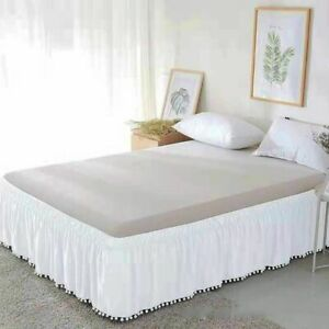 Bed Skirt White Wrap Around Elastic Shirts Surface Twin Full Queen King Hotel
