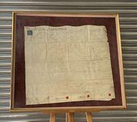 Original Framed & Glazed George III Velum Indenture Of Irish Origin