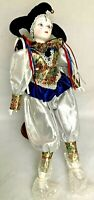 """Mardi Gras Jester Harlequin Porcelain Doll with stand Approx. 22"""""""