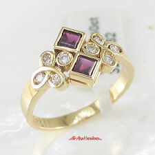 18k Solid Yellow Gold Genuine Diamond, Natural Red Square Ruby Cocktail Ring TPJ