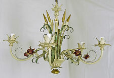 LAMPADARIO LIBERTY DIPINTO A MANO ART.150 FERRO BATTUTO CHANDELIER MADE IN ITALY