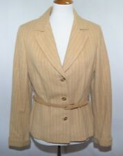 Vtg Dalton Ilgwu Beige Pin Striped Button Down Belted Jacket Usa Made Womens 12