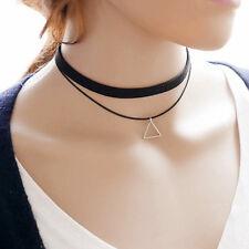 Fashion Bohemia Black Leather Choker Necklace Triangle Charm Pendant Jewelry New