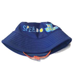 Speedo Block The Burn Beach Bucket Hat Toddler Size S/M UV 50 Blue