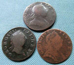 Lot 3 King George III British Irish Halfpenny 1775 1769 - Rare Non Regal Simian