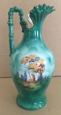 Antique Green Porcelain EWER PITCHER Czecho Slovakia - Shepard and Sheep Scene
