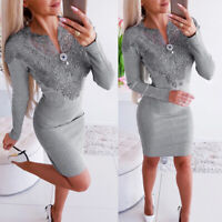 Women Sexy Lace Long Sleeve Short Dress Evening Party Cocktail Bodycon Clubwear