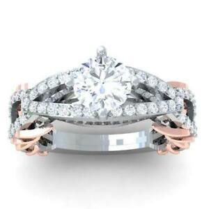 Vintage Designer Anniversary Ring I1 G 2.00Ct Round Diamond 14K Two-Tone Gold