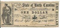 $1 1861 North Carolina Raleigh Cr32 Grey-Black $1 Very Fine #1860 Ship