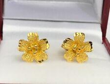 24k Solid Gold Cute 3 D Flowers Stud Earrings, 3.51 Grams. Diamond Cut