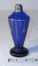 CZECH ART DECO COBLAT BLUE GLASS PLATINUM TRIMMED PERFUME BOTTLE 1930s