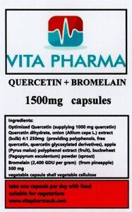 QUERCETIN + BROMELAIN 1500mg 60 caps immune health healthy respiratory function