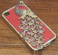 Red Leather Diamond Rhinestone Bling Peacock Hard Case Cover for iPhone 4!