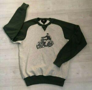 Men's RRL Ralph Lauren Raglan Sleeve Sweatshirt - Size Medium - Grey / Green