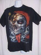 Unisex Novelty Size L Black Studded T-Shirt W/Skulls
