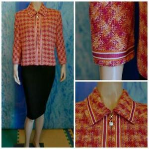 ST. JOHN COLLECTION Knits Pink Orange Jacket XL 16 18 Blazer CREAM Trims