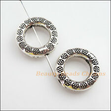 2Pcs Tibetan Silver Tone Round Flat Spacer Beads Frame Charms 21mm