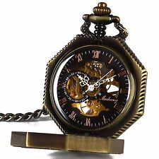 Smart.Deal Mens Magic Pocket Watch with Chain Bronze Octagon Case Steampunk