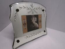OLD VINTAGE ANTIQUE ETCHED LEAF GLASS MIRROR PICTURE FRAME 12 X 10