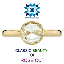8.00 MM Rose Cut Classic Beauty Vvs Moissanite Diamond 14 Kt Yellow Gold Ring