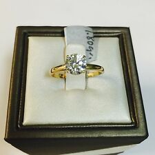 14K Yellow Gold Classic Round Cut CZ Solitaire Engagement Ring - 6.5mm (1 Carat)