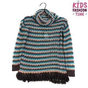 MISS GRANT Jumper Dress Size 10-11Y / 38 / 134-140CM Wool Blend Fringe Trim