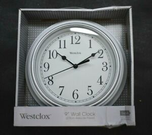 "Westclox 9"" Wall Clock Silver White Simplicity Analog Round Home Office 46994"