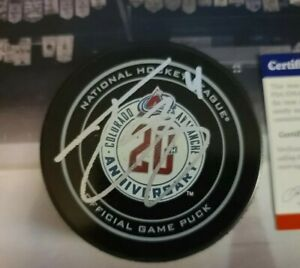 TYSON BARRIE Signed CO AVALANCHE 20th ANNIVERSARY Official Game Puck PSA/COA