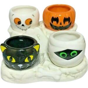 Yankee Candle HALLOWEEN FRIENDS 5 Piece GRAVE Set Cat Mummy Ghost Jack-O-Lantern