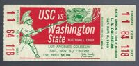 1969 NCAA WASHINGTON STATE COUGARS @ USC TROJANS FOOTBALL FULL UNUSED TICKET