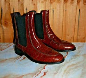 New Anthropologie Chelsea Amy Croc Genuine Leather Boots Brown Sz- UK 6 EU 38